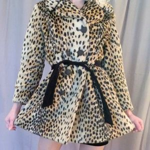 Cheetah print peacoat with black tie belt